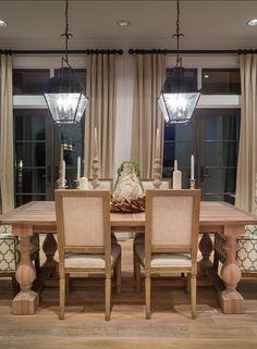 "Dining Room. Dining Room Decor and dining room furniture. The lantern pendants are the ""Chart House Holborn Lantern, Aged Iron from Circa Lighting""."