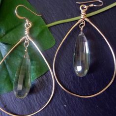 """Faceted Lemon Lime Topaz Teardrop on 14kt gold filled wire wrapped Drop. 1.5"""" To order...  Email LaurenDorman5@gmail  (www.paypal.com)"""