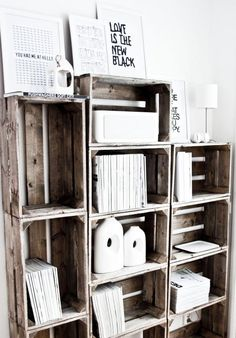 "Bookcase made of old wooden crates are cool, but crazy cool ""Love is the New Black""."