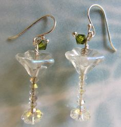 Martini Glasses Earrings with a Green Olive by CSWJewelry on Etsy, $23.00