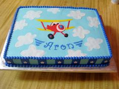 airplane birthday cakes for kids | 11x15 sheet cake for my nephew's birthday. BC with fondant accents ...
