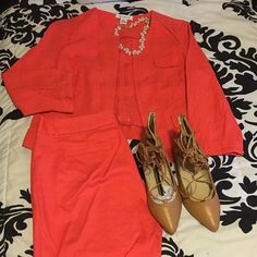 Cute Coral Color Summer Work Suit  Coral colored 2 piece Liz Claiborne pants suit - Blazer is a size large, has 3/4 sleeves and is unlined. Pants are also unlined and are cropped to the ankle- size 10.... Set was purchased as separates but I am selling them together.... Willing to breakup the set! Make an offer  Liz Claiborne Other