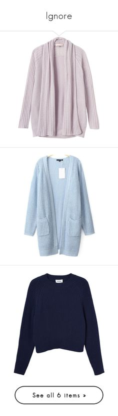 """""""Ignore"""" by xxghostlygracexx ❤ liked on Polyvore featuring tops, cardigans, sweaters, jackets, dove, pink knit cardigan, ribbed knit top, knit cardigan, side slit top and pink top"""