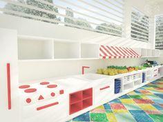 Brinquedoteca | Projeto de espaço lúdico de recreação para escola. Estação para brincadeiras com cozinha, feira e oficina mecânica. Uso de piso vinílico colorido e lúdico.