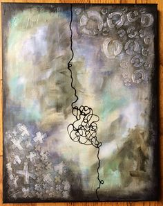 """Mixed media abstract art by Lisa Cousineau using molding paste and the Xs and Os stencils from """"Marked"""".  Gelli Arts print by Lisa Cousineau using the Comma stencil from """"Marked"""".   http://www.artistcellar.com/stampstencil/acSignatureSeries.html"""