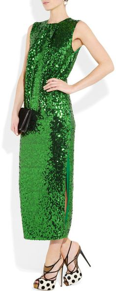 If you have to go this bright, and sequinned, best it be designed with those pleats at the collar and by M Birger  By Malene Birger Amukaji #Sequined jersey #Dress in Green (grass) #nye #outfit