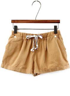 Drawstring Cuffed Flower Print Blue Denim Shorts | I would wear ...