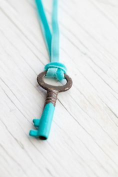 Vintage Key dipped in turquoise with Tiffany green velvet ribbon
