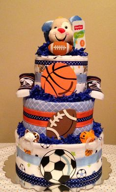 Baby Boy.. Sports.. Doggy.. Diaper cake.. Centerpiece...