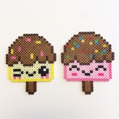 Ice Cream Pop Perlers #perler #perlers #icecream #popsicle #icepop #kawaii #cute #beads #beadsprite #Hama #hamabeads #fusebeads #8bit #8bitart #sprite #chocolate