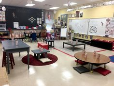 Fourth-grade teacher Amy Mileham went the DIY route, repainting tables, creating crate seats, and turning pillows into floor seating.