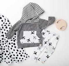 Dark Grey airplane hoodie newborn baby hoodie by ShopLuluandRoo
