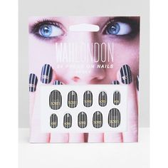 WAH London & ASOS Press On Nails - Bossy Pinstripe (36 RON) ❤ liked on Polyvore featuring beauty products, nail care, nail treatments and black