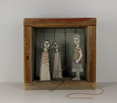 Self Portrait #1 the embroiderer, hand embroidered diorama.