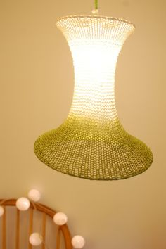 I could do this: Large Green knitted dip dyed lampshade