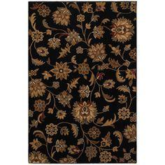 Mohawk Home Blackbourne Black Rectangular Black Floral Woven Area Rug (Common: 8-ft x 10-ft; Actual: 8-ft x 10-ft)
