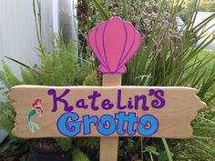 Wood LITTLE MERMAID Grotto Sign - Welcome Sign - Ariel Sebastian Flounder - Outdoor Post - Birthday Party Decorations on Etsy, $40.00