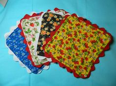Vintage 70's fabric coasters   Cute way to use up your fabric stash!