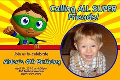I asked Gabe what kind of 2nd bday party he wants and he said...Super Why!!!  Super Why Birthday Party Invitations 24 HOUR SERVICE. $8.99, via Etsy.