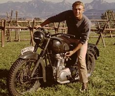Steve McQueen in The Great Escape. They dressed up a Triumph to look like a German bike. One of the coolest motorcycle chase scenes put to film LOVED reading the Gardner files- which Jim Garner was in this movie too