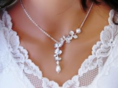 Orchid and Pearl Necklace
