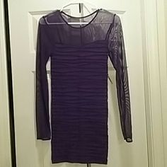 Fitted purple dress Fitted purple dress with sheer upper top. I would say if you are a 2-4 you can wear this dress. Hidden Lotus  Dresses Long Sleeve