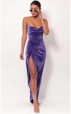 Velvet Luxe Maxi Dress In Lavender Style: Strut your stuff in this stunning cowl neck maxi dr Pretty Prom Dresses, Ball Dresses, Elegant Dresses, Cute Dresses, Beautiful Dresses, Evening Dresses, Purple Formal Dresses, Long Purple Dress, Purple Dress Outfits