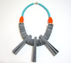 Gray Orange Cardboard Beads Handmade Statement by catrinel777