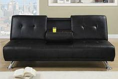 Modern Plush Black Faux Leather Adjustable Sofa Bed Futon Sleeper Only $249