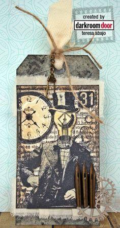 Tag by Teresa Abajo using Darkroom Door 'Mr Bright Idea' Collage Stamp…