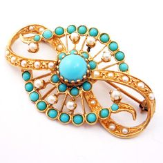 14K Vintage Victorian Revival 1950s Turquoise by laurenrosedesign, #EcoChic #vintage #jewelry #Fashion