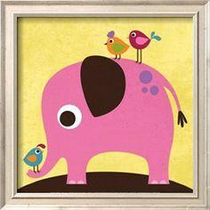 Elephant with Birds Posters par Nancy Lee sur AllPosters.fr