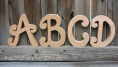 Unfinished Wood Letters Swoopy Upper Case Monograms - Make a name, a word, anything you'd like! #monograms #crafts #diy