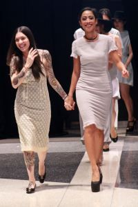 Project Runway designer Helen Castillo with model Jeannette Josue