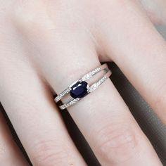 Gemmyo : Bague Cassandra - Argent, Saphir et Diamants