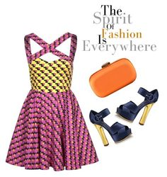 """Wednesday's Outfit of the Day -Printed and Polished"" by latoyacl ❤ liked on Polyvore featuring Fairground, Louis Vuitton, Lancel, metallics, platform heels, clutches, bright dresses, geometric pattern and strappy heels"