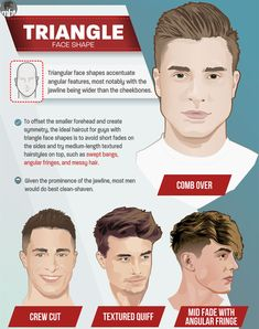Hairstyles For Triangle Face Men - Best Men's Haircuts For Triangle Faced Guys - Short Fade Haircuts Medium-Length Hairstyles on Top Swept Bangs Angular Fringes Messy Hair Comb Over Crew Cut Textured Quiff Mens Haircuts Quiff, Mens Modern Hairstyles, Cool Haircuts, Haircuts For Men, Cool Hairstyles, Men's Haircuts, Quiff Men, Japanese Hairstyles, Haircut Men
