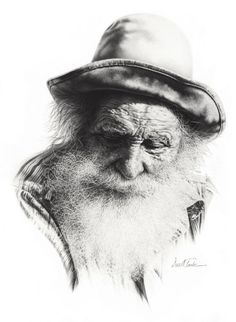 "Yes... it is a pencil drawing.  Darrel Tank - ""Gabby"" - Portrait of Aged Man"