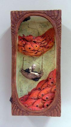 "mixed Media & Collage Art - ""Flock"" by Malia Landis - shadow box art assemblage Shadow Box Kunst, Shadow Box Art, Deco Design, Art Design, Wall Sculptures, Sculpture Art, Assemblage Kunst, Wal Art, Ceramic Wall Art"