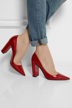 Pierre Hardy Red Chunky Heel Pumps for Fall Pretty Shoes, Beautiful Shoes, Cute Shoes, Me Too Shoes, Chunky Heel Pumps, Pumps Heels, Pierre Hardy, Christmas Shoes, Red Shoes