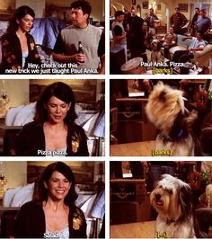 Paul Anka  this was the best... Lorelai invited all the hardworking men into her house for food and entertainment after they worked hard on her house. it was so thoughtful