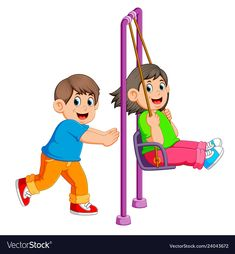 Brother pushing sister on swing Royalty Free Vector Image Playground Painting, Thank You Pictures, Beautiful Girl Drawing, Kids Graphics, Clip Art Pictures, Video X, Colouring Pics, Helfer, School Subjects