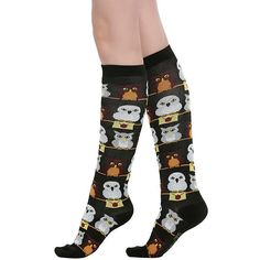 WB Harry Potter Hedwig And Friends Knee Socks ($6.37) ❤ liked on Polyvore featuring intimates, hosiery, socks, knee high socks, knee hi socks, warner bros. and knee socks