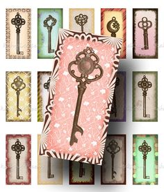 Skeleton Keys - printable images for jewelry making and crafts