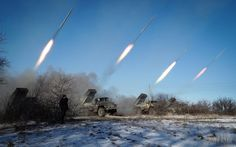 Pro-Russian rebels stationed in the eastern Ukrainian city of Gorlivka, Donetsk region, launch missiles from Grad launch vehicles