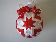 Matilda / Patchworková guľa - bielo červená