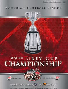 2011 Grey Cup program