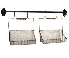 Nástěnný držák s košíky Antic Line Factory Baskets Under Bed Storage, Storage Boxes, Storage Baskets, Plastic Baskets, Metal Baskets, Country Shop, Square Baskets, Wooden Organizer