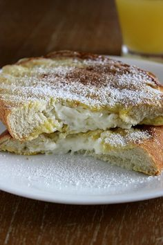 Cream Cheese French Toast  -- Do something similar. I'd use sweetened cream cheese and Challah bread, and put cinnamon and a dash of salt in the egg/milk mixture, as usual. Then serve with sliced bananas and sprinkle with powdered sugar. Yum!