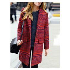 Lapel Striped Striped Long Red Coat (215 PLN) via Polyvore featuring outerwear, coats, long lapel coat, lapel coat, red coat, striped coat i long coat